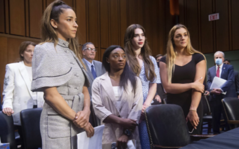 Gymnasts (from left to right) Aly Raisman, Simone Biles, McKayla Maroney and Maggie Nichols after testifying at a Senate Judiciary Committee hearing on the FBIs handling of the Larry Nassar investigation. Saul Loeb/Pool via AP